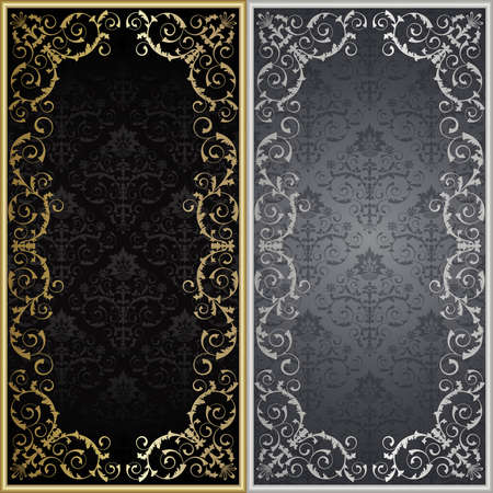 Set from silver and gold framework on the black and gray background