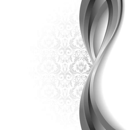 damask frame: White  background with flowers and leaves and silver wave. Illustration