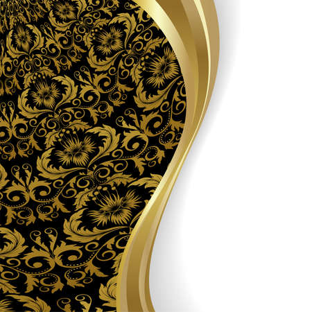 black silk: Black  background with flowers and leaves and gold wave.