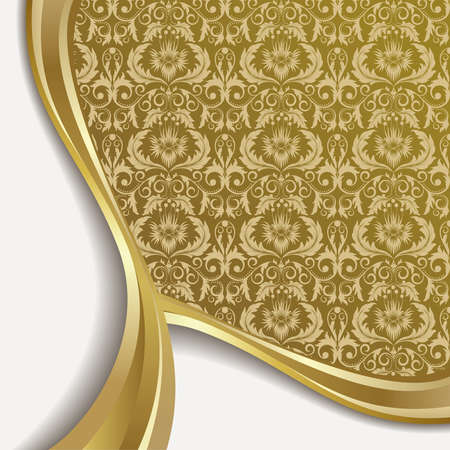 white silk: White  background with flowers and leaves and gold wave.