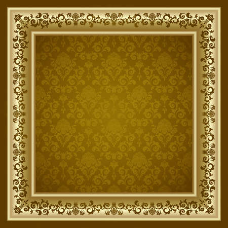 Gold frame on the brown background Stock Vector - 7201741