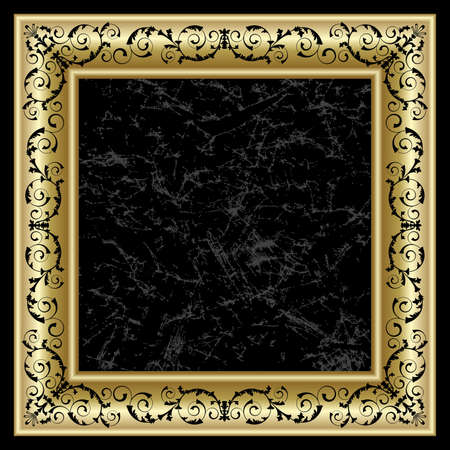 nobody: Gold frame on the black background