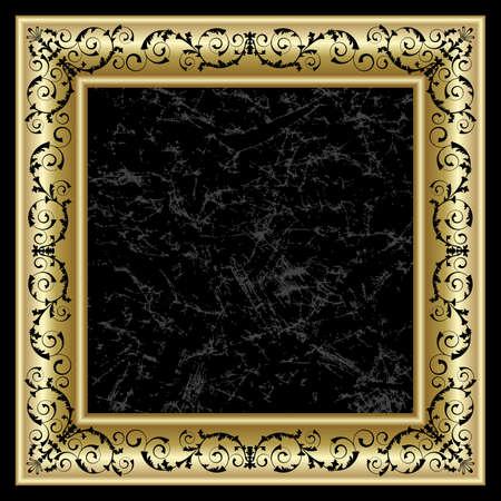 elegance: Gold frame on the black background