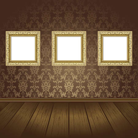 molding: Gold three frames on the  wall with black wallpaper