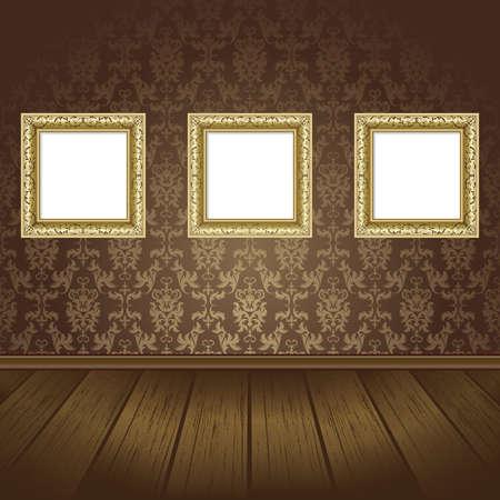 Gold drei Frames an der Wand mit schwarzen Tapete