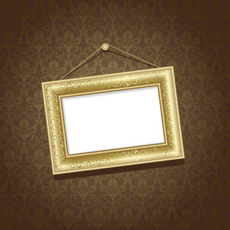 Gold frame on the  wall with brown wallpaper Vector