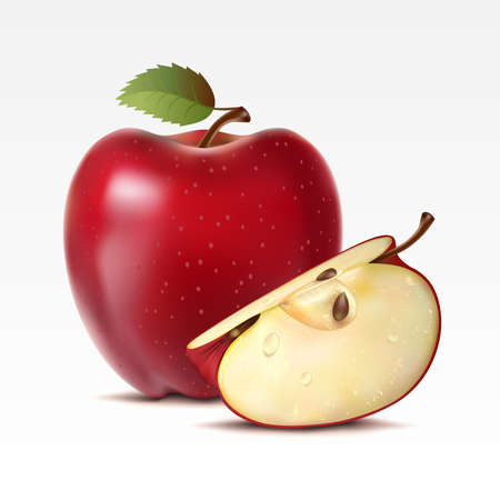 Two red apples on a white background Ilustração
