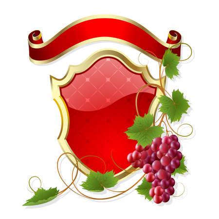 claret: Gold-framed label with claret vine and red ribbon