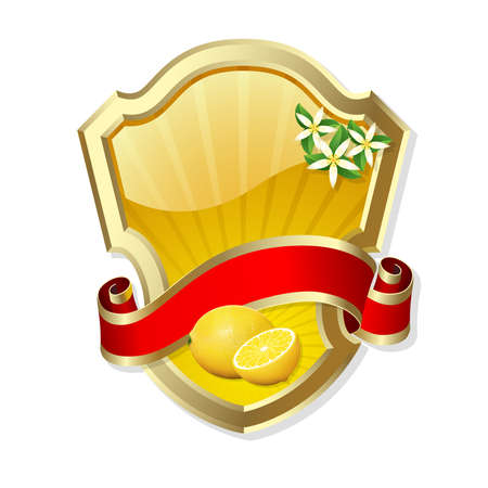 Gold-framed label with lemon and red ribbon Vector