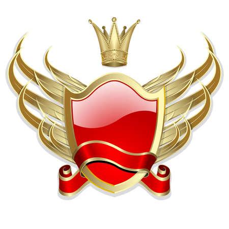 Label Gold-omlijst met vleugels en rood lint op de witte achtergrond Vector Illustratie