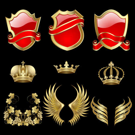 Set of heraldic gold and red design elements Vector