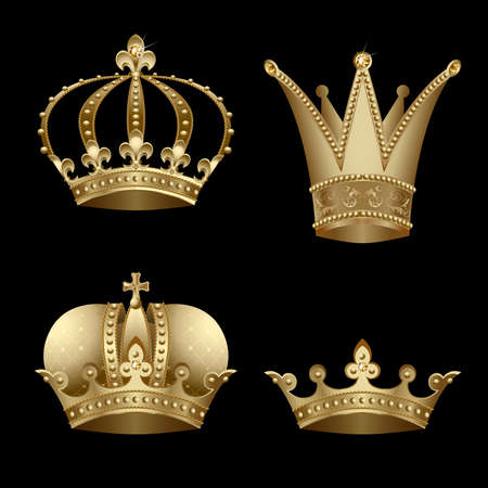 Set of four gold crown with diamond Stock Vector - 7675537