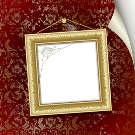 Gold frame on the  wall with red wallpaper Stock Vector - 7745741