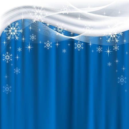 Christmas background with blue curtain and white snowflakes Vector