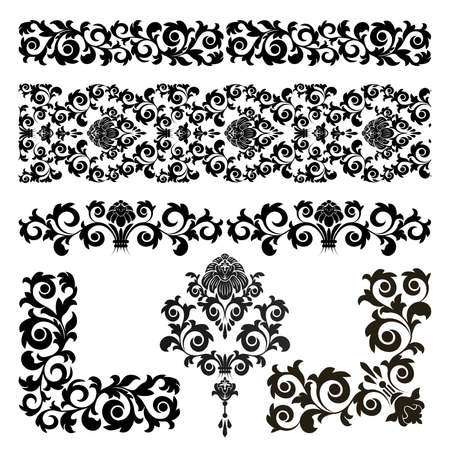 Set of floral design elements on the white background