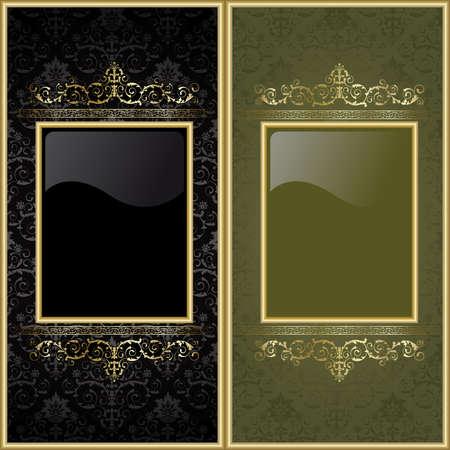 ornate gold frame: Conjunto de marcos de oro en el fondo negro y verde  Vectores