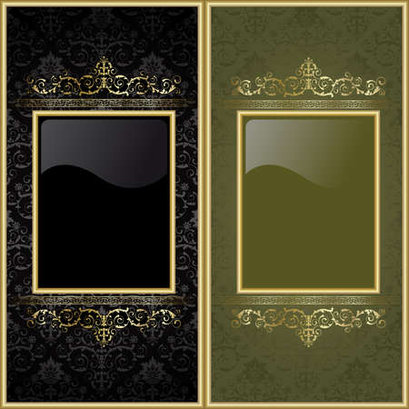 Set from  gold frames on the black and green background Vector