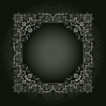 Retro frame on the black floral background Vector