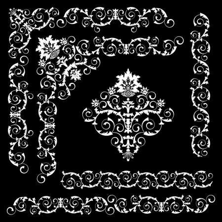 Set of floral design elements on the black background Stock Vector - 8002599