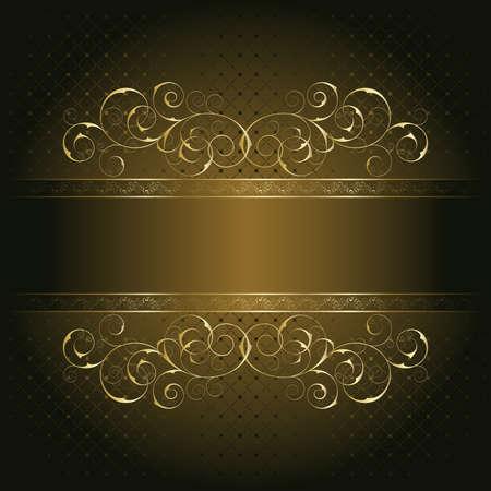 ornate gold frame: Marco retro en el fondo floral marr�n