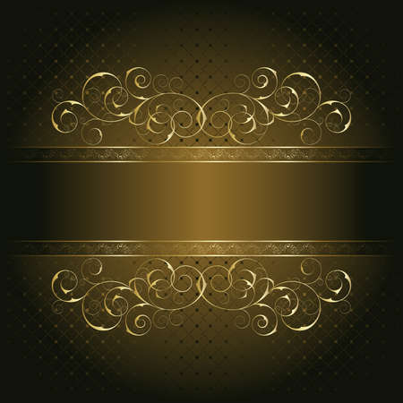 gold brown: Retro frame on the brown floral background