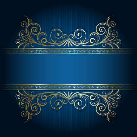 Retro frame on the blue floral background Vector