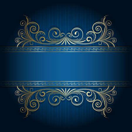 banner floral: Retro frame on the blue floral background