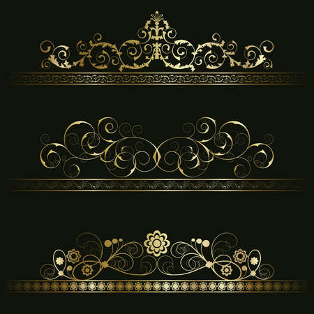 Set from gold retro frames on the black floral background Vector