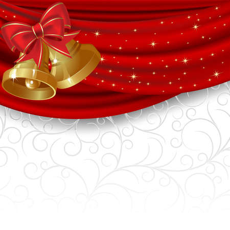 Christmas background with red curtain and gold bell Vector