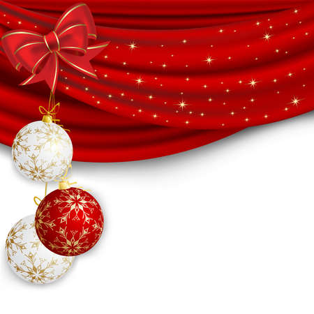 christmas decorations with white background: Christmas background with red curtain and ball
