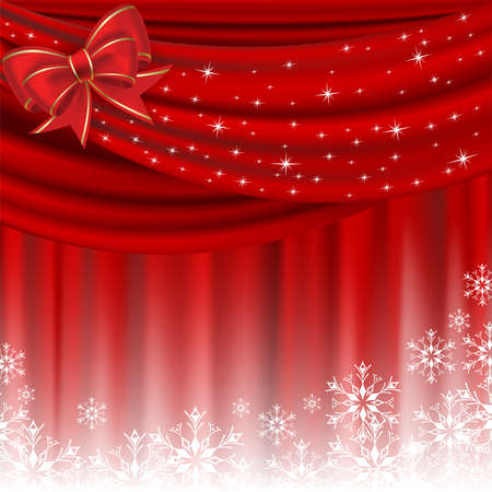 white silk: Christmas background with red curtain and bow