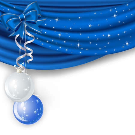 traditional silver wallpaper: Christmas background with blue curtain and balls