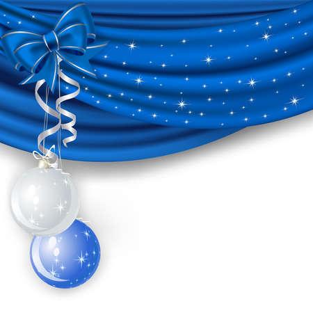 terciopelo azul: Fondo de Navidad con cortina azul y bolas