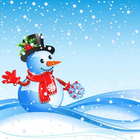 Fond bleu de Noël avec Bonhomme de neige et flocon de neige