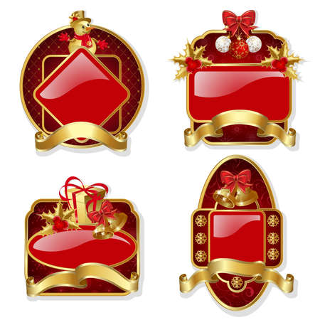 bell curve: Set from red christmas labels with gold frame