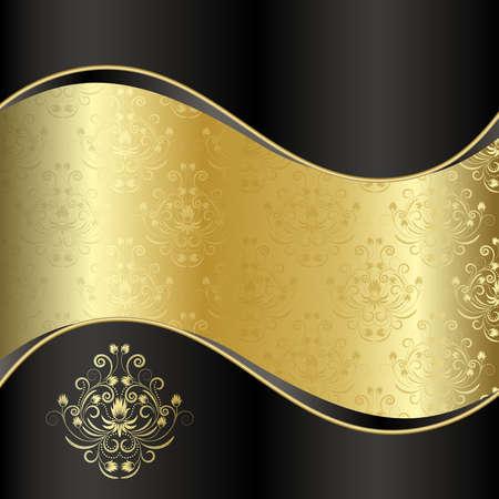 gold decorations: Fondo negro con oro de flores y hojas  Vectores