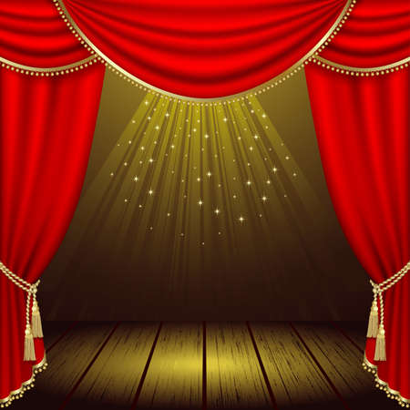 curtain: Theater stage  with red curtain  Illustration