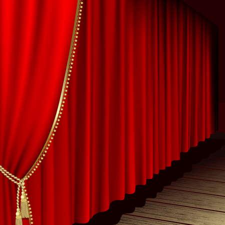 telon de teatro: Escenario de teatro con cortina Roja