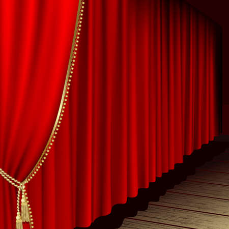 Theater stage  with red curtain  Illustration