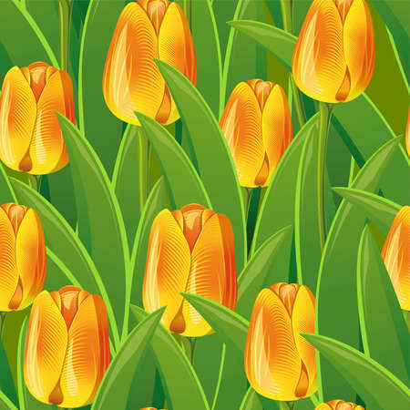 Seamless from yellow tulips and green leaves(can be repeated and scaled in any size) Vector