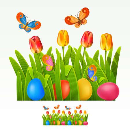 spring out: Frontera de Pascua con huevo decorado y tulipanes (puede ser repetido y escala en cualquier tama�o)
