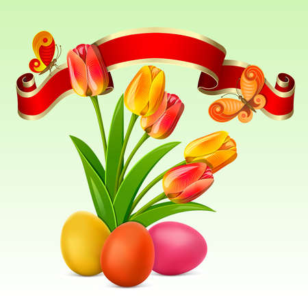 Easter background with egg decorated, red ribbon and tulips Vector