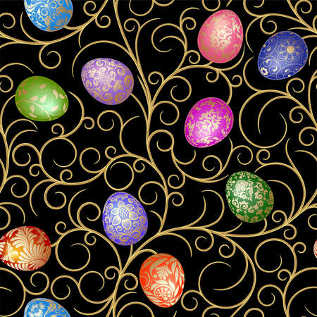 Easter seamless with eggs on the black background.   Stock Vector - 8892253