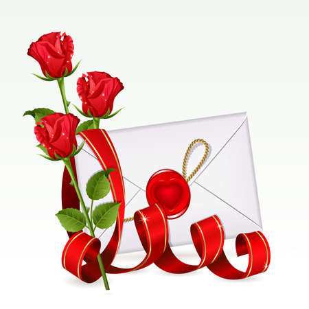 Valentine background with letter and red roses Stock Vector - 8892250