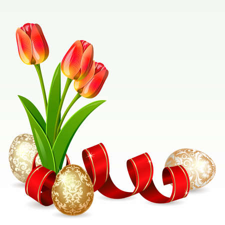 white tulip: Easter background with egg decorated and flowers