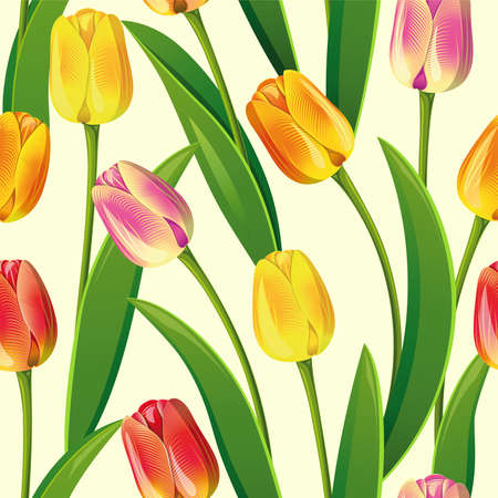 rosebud: Seamless from yellow tulips and green leaves(can be repeated and scaled in any size) Illustration