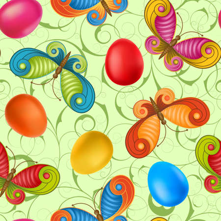 Easter seamless with eggs  and butterflies.   Vector