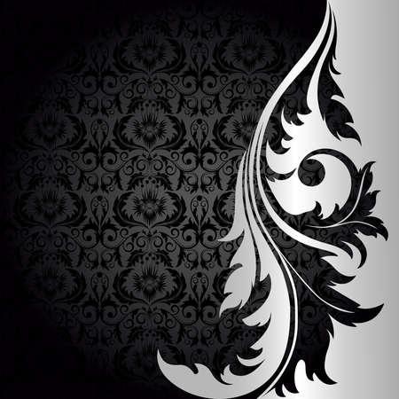 damasco: Fondo negro con plata flores y hojas