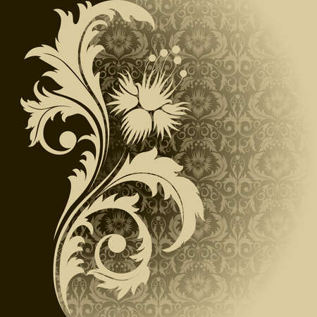 damask frame: Beige  retro background with  flowers and leaves Illustration