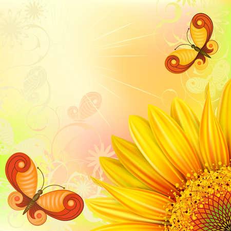 girasol: Fondo amarillo verano con girasoles y mariposas m�scara de recorte